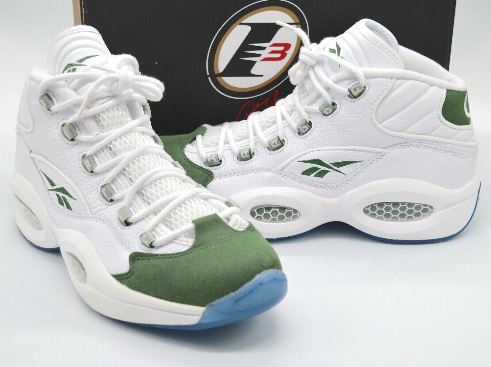 Una oración Malversar antártico  New Reebok Question Mid White/Racing Green