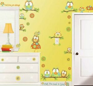 Giant-OWLS-WALL-DECALS-46-New-Cute-Colorful-Stickers-Girls-or-Nursery-Decor