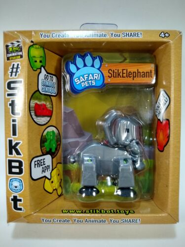 "Zing Zanimation Studios StikBot Safari Pets ELEPHANT Silver Green Blue 3/"""