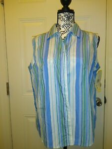 Womens-white-stag-sleeveless-blouse-size-XL-color-is-Multicolored-NWT