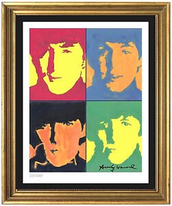 Andy-Warhol-Signed-Hand-Numbered-Ltd-Edtion-034-The-Beatles-034-Litho-Print-unframed