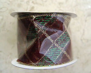 NEW CHRISTMAS BURGUNDY GREEN GOLD WIRE EDGE EDGED RIBBON WIRED WREATH XMAS CRAFT