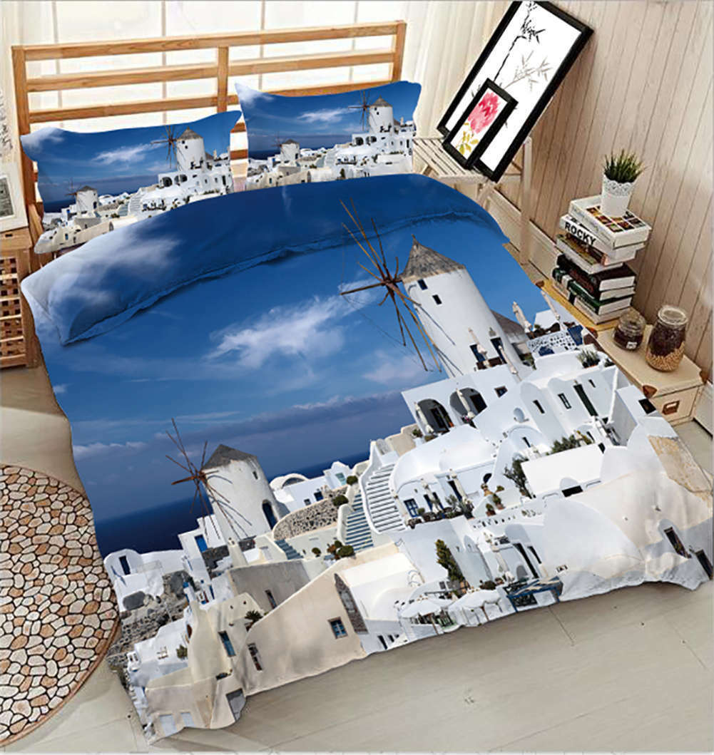 Round White Castle 3D Printing Duvet Quilt Doona Covers Pillow Case Bedding Sets