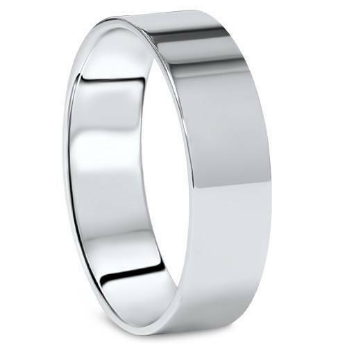 High Polished Flat 6MM Mens Wedding Band Ring Solid 14K White Gold