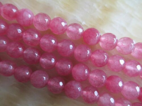 "8mm faceted pink Ruby Loose Beads Gemstone 15/"" HL712"