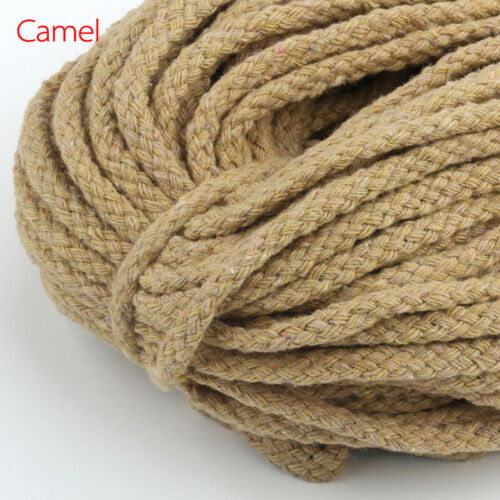 Colored Braided Macrame Cord Cotton Rope 5mm String Hand Knitting 100 yards