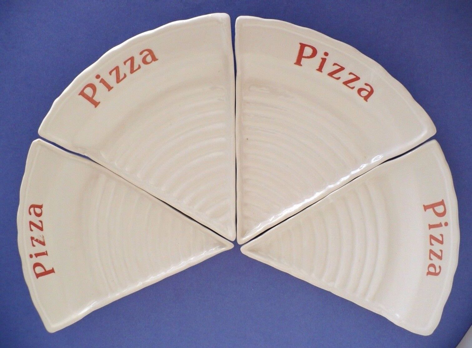 Vintage Set of 4 Porcelain Pizza Slice Shape Plate Dish. 1970's Approx 8.25  L