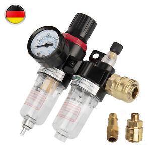 """Druckluft Filter Wartungseinheit Druckminderer 1//4/"""" Regler für Kompressor Neu"""