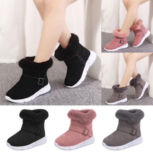Kids Girls Children Winter Snow Ankle Fur Lined Grip Sole Boots Shoes School UK