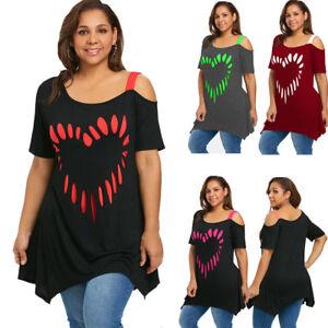 d5f743594b830 XL-5XL Plus Size Heart Print Tunic T-shirt Tee Women Short Sleeve ...