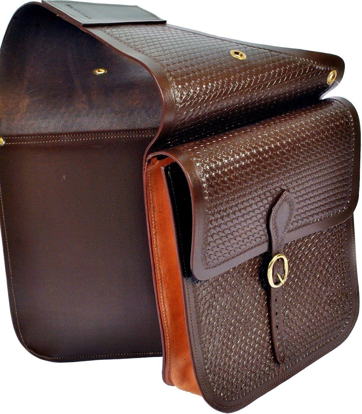 Western Horse Saddle Bag Biker Basket Weave HandTooled Extra Large Bag.