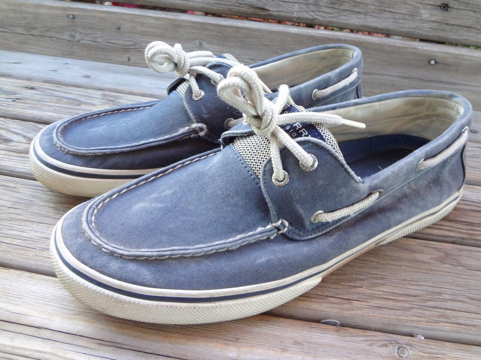 Sperry Top Sider Bahama Mens Boat shoes Sz 12 Canvas Salt Washed Grey Deck 2 Eye
