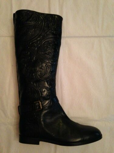 Etro black leather tall boots 41 10 paisley emboss