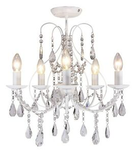 Luxury White Crystal 5 Light Ceiling Chandelier Lounge Bhs Saria 5054677201717 Ebay