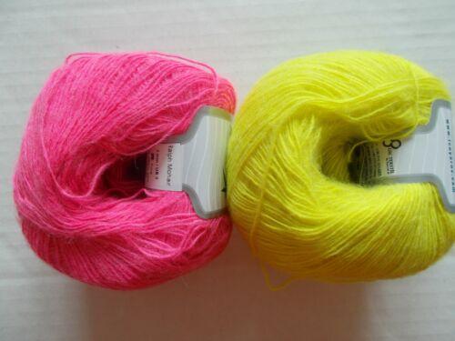 Ice Yarns Ralph Mohair yarn mixed lot of 2 neone yellow//pink 380 yds ea