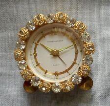 1950's Phinney Walker Semca Rhinestone Jeweled Boudoir Alarm Clock Germany