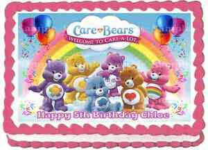 Details about EDIBLE CARE BEARS RAINBOW A4 PERSONALISED BIRTHDAY PARTY ICING CAKE TOPPERS