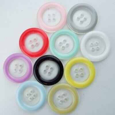 10 COLOUR 18mm 25mm Rim Button Transparent Centre Shirt Coat Skirt Etc BUY 2 4 8