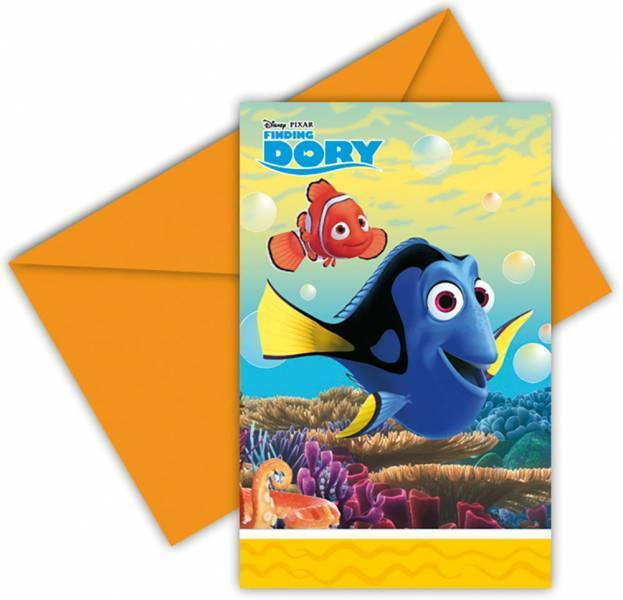 6 Einladungskarten mit Umschlag  Finding Dory Kindergeburtstag Party