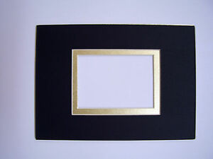 Picture Frame Mat Black With Gold Line 5x7 For 25x35 Sports Card