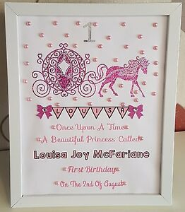 Image Is Loading Personalised Framed Carriage Baby First 1st Birthday Girl