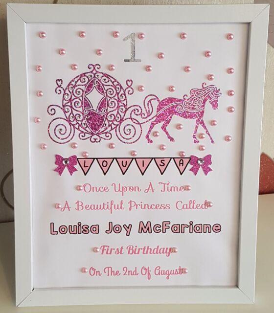 Personalised Framed Carriage Baby First 1st Birthday Girl Handmade Gift Keepsake