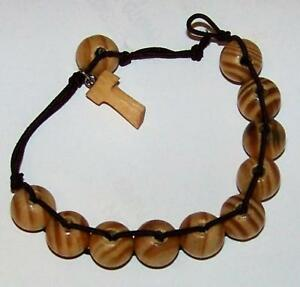 NEW-TAU-St-Francis-of-Assisi-Rosary-Bracelet-Olive-Wood-Finish-8-034-Adjusts-To-Fit