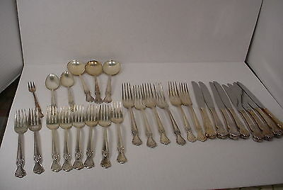 Vintage Lot of 27 Silverplate Old Company Plate Flower ROSE pattern