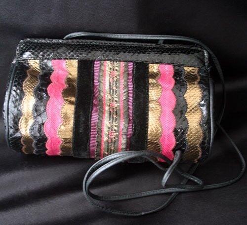 Vintage CARLOS FALCHI Snake Velvet Evening Bag 80s