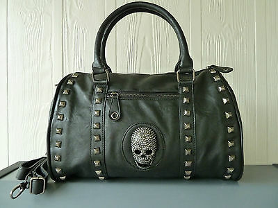 Skull/Biker/Gothic hand bag-shoulder bag NWT Black/Brown bonded leather