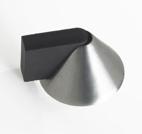 Floor Mounted Designer Modern Cone Door Stop Satin Stainless Steel Screw Fix