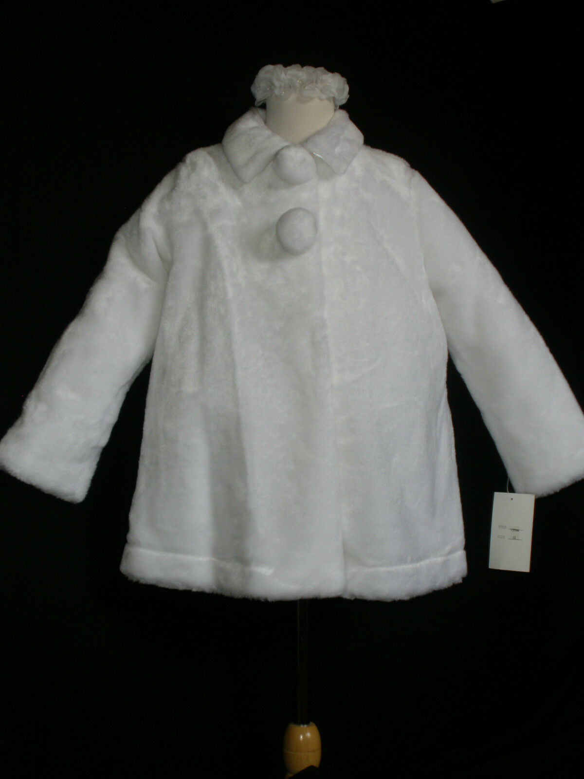 New Faux Fur Jacket for Wedding, Pageant Foraml Events white size 10,12