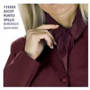 Ascot-Cashe-Col-Uomo-Donna-Pura-Seta-Fantasia-Punto-Spillo-Pois-bordeaux-115333
