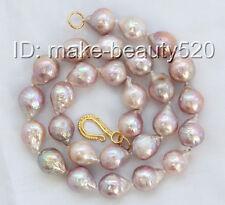 stunning 16mm baroque purple Edison keshi reborn freshwater pearl necklace s2703