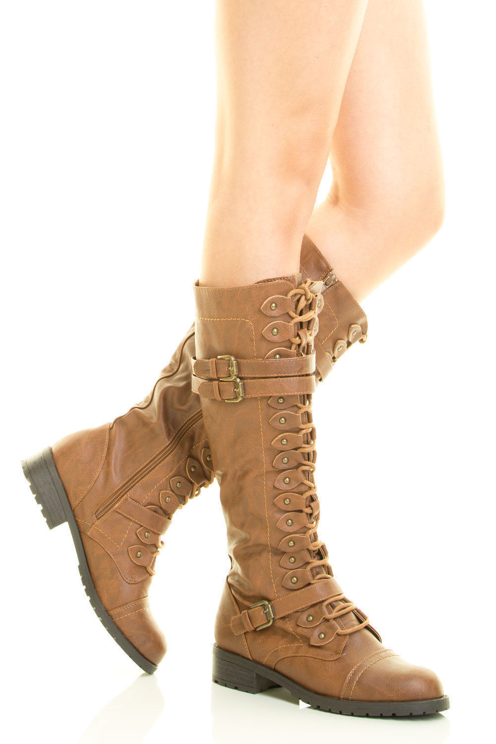 Tan Front Lace Up 1  Low Heel Round Toe Sexy Combat Mid-Calf Boot Size 8.5