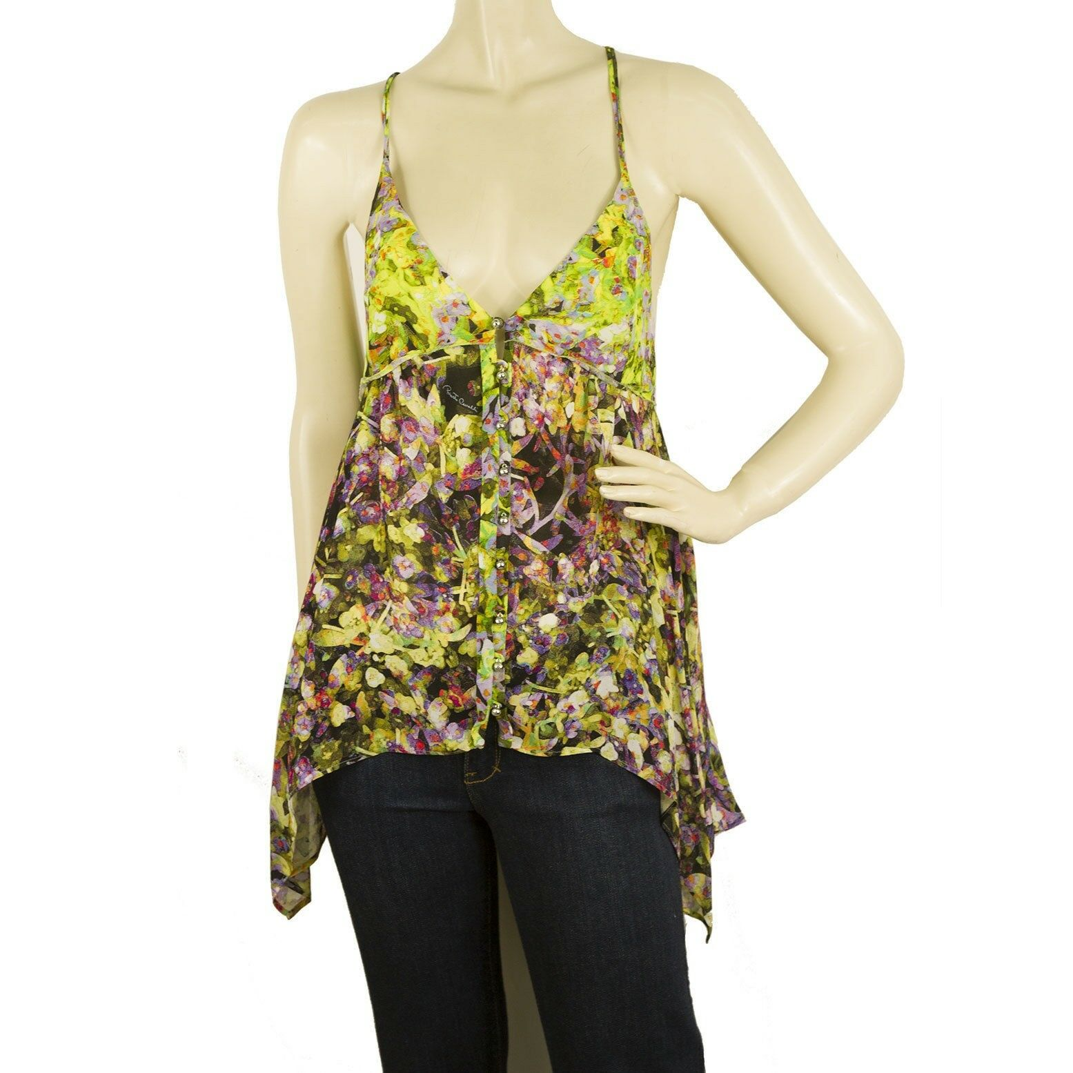 Roberto Cavalli Floral 100% Silk MultiFarbe Cami Top Sleeveless Blouse Größe 38