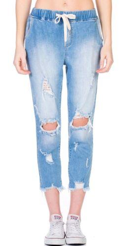 Cello Jeans High Rise Destroy Straight Denim Jogger