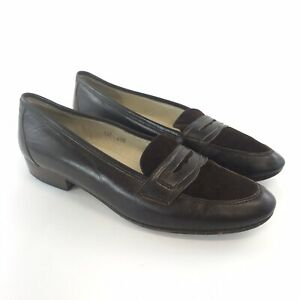 Russell-Bromley-Size-EU41-5-UK8-5-Brown-Leather-Slip-On-Penny-Loafers-Flat-Shoes