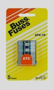 Bussmann-Buss-15-amps-32-volts-ATC-Automotive-0-8-034-Blade-Fuse-5pk-BP-ATC-15-RP
