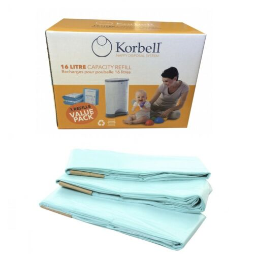 Korbell Nappy Disposal Bin Refill Liners Compatible Fit For 15 & 16 Litre Bins