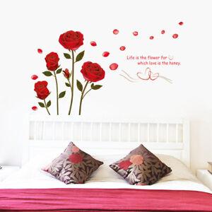 rote-Rosen-Wandsticker-Natur-Gold-Sprich-Zitat-Wandtattoo-WandAufkleber-Sticker