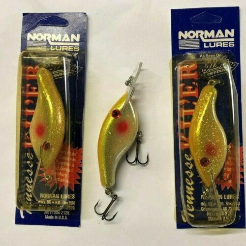 Lot of 3 Norman Tennessee Kil/'er Cedar Wood Flat Sided Crankbaits Fishing Lure