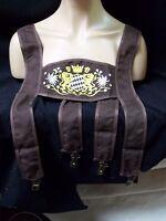 Brown Oktoberfest Faux Lederhosen Costume Suspenders Lad Hansel German Beer Fest