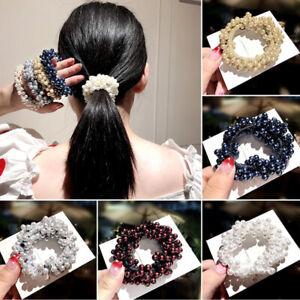 Women-Hair-Accessory-Pearls-Headbands-Ponytail-Holder-Girls-Scrunchies-RubberSG