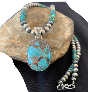 Mens-Navajo-Pearls-Sterling-Silver-Blue-SpiderWeb-Turquoise-Necklace-Pendant-923
