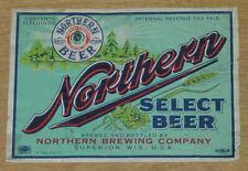 1 older beer label from Superior, Wisconsin, Northern Select Beer, 12 oz., IRTP