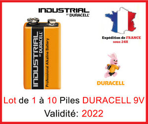 Lot-de-1-a-10-Piles-DURACELL-Industrial-9V-6LR61-PP3-MN1604-DLC-2022