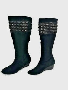 0d11dc2c69d Calvin Klein Womens Boots Black Suede Tall Wedge Size 8 M Chain Mail ...