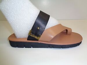 bf951a2cdcd9 Calvin Klein Size 6.5 M PAX COW SILK Gold Black Leather Sandals New ...