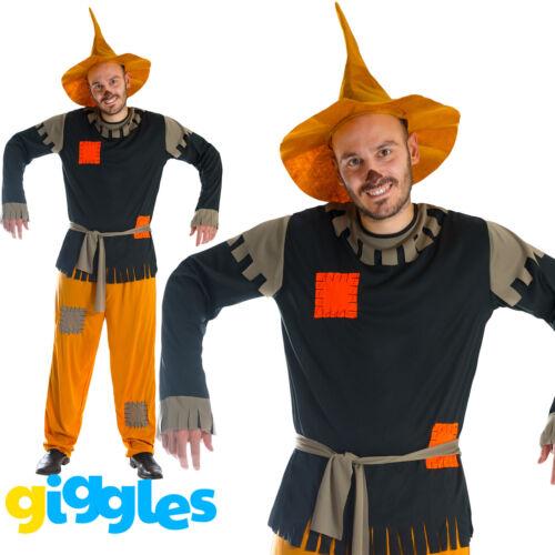 Mens Scarecrow Costume /& Hat Fancy Dress Fairytale World Book Day Week Halloween